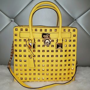 Michael Kors Yellow Studded Hamilton Bag
